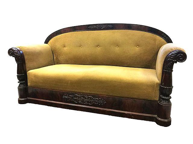 divano, Carlo, X, decimo, piuma, mogano, buone, condizioni, piccoli, restauri, sofa, inizi, 800, XIX, sec, Francia,