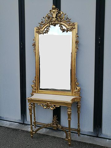 Consolle con specchiera in legno intagliato e dorato