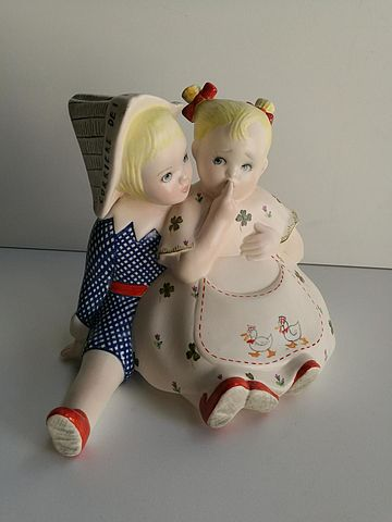 Lenci ceramica coppia bimbi