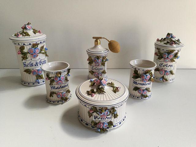 set, bagno, servizio, ceramica, arte, artistica,petucco, &, tolio, nove, vicenza, madame, monsieur, lui, lei, terraglia