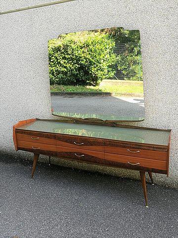 Paolo, Buffa, cassettiera, specchio, specchiera, mobile, cassetti, italiandesign, design, anni, 50, midcentury, wood,