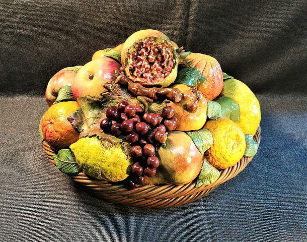 terracotta, cesto, frutta, terraglia, forte, Bassano, anni, 60, 1960, midcentury, Italia, Italy,