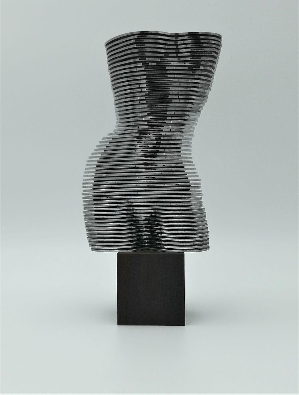 EVA, Eva, Otto, Monestier, scultura, mobile, 46, Biennale, Arte, Venezia, 1972, Milano, Induno, Olona, 55, dischi, plastica, cromata, base, legno, italia,