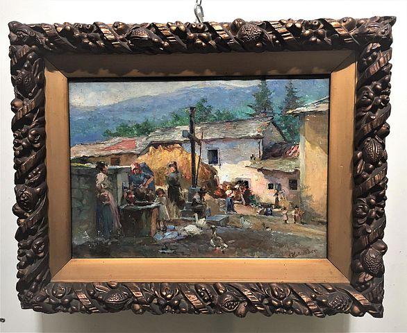 Alfonso, Hollaender, olio, tavola, interno, cortile, 1913, Berlino, Italia, Firenze, macchiaioli, pittura, '800,