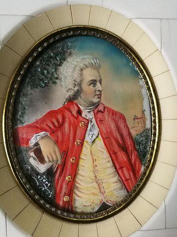 miniatura, avorio, paint, miniature, portrait, Mozart, Val, Janschek, ritratto, busto, dipinto, firmato