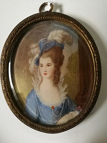 miniatura, avorio, miss, Graham, Reymont, ritratto, dipinto, piccolo, thomas, Gainsborough