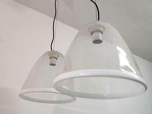 Venini, coppia, lampadari, ceiling, lamps, spirale, bianco, vetro, soffiato, blow, glass, white, anni60, 1960s, Murano, Venezia, Italia,