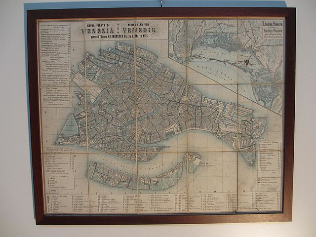 cartina Venezia pieghevole 1854