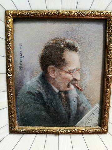 miniatura, uomo, gentiluomo, giornale, avorio, sigaro, impressionista, bolongaro, 1958, cornice
