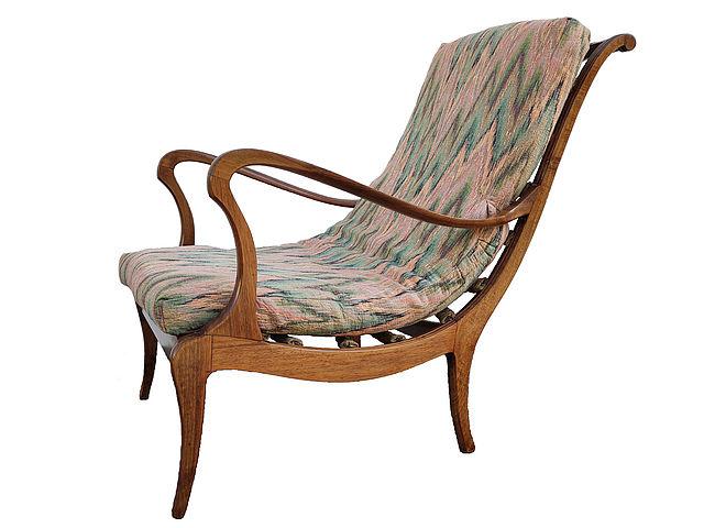 Ezio, Longhi, Elam, poltrona, originale, anni50, Mitzi, lounge, armchair, long, chaise, legno, maglia, metallo, wood, metal, midcentury, 1950s, Italia, Italy, stoffa, Missoni,
