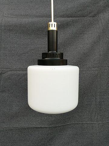 Stilnovo, lampada vetro satinato e ottone anni 50